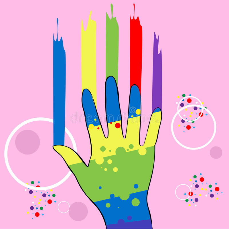 Abstract Hand In Paint, Colorful Over Pink Background vector illustration