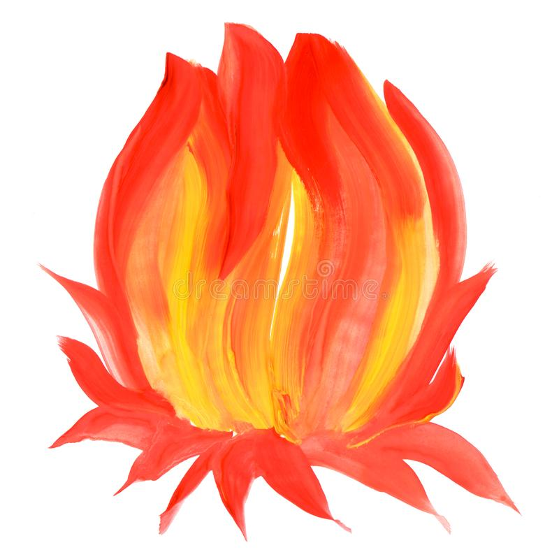 Abstract hand painted beautiful spot on white background which resembles to fire or flower. Illustration. Abstract hand painted beautiful spot on white vector illustration