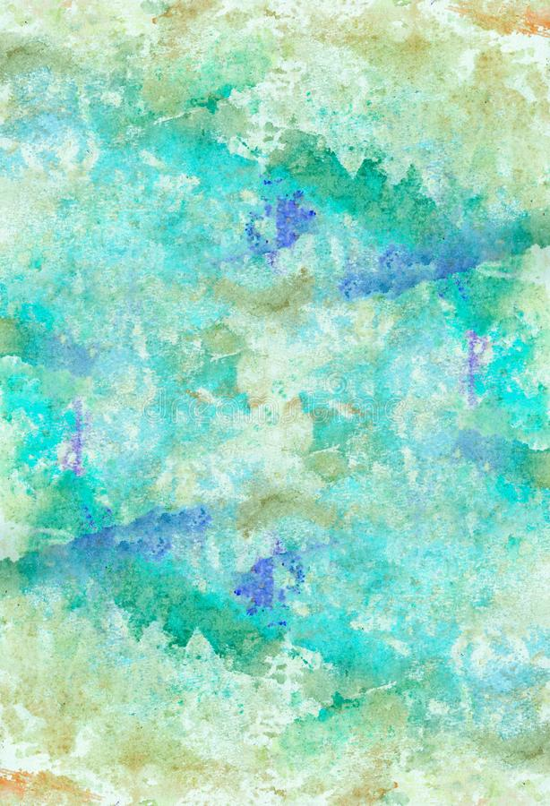 Abstract watercolor splash paper background. Colorful decorative texture. Abstract hand painted splash watercolor background. Decorative chaotic texture for royalty free illustration