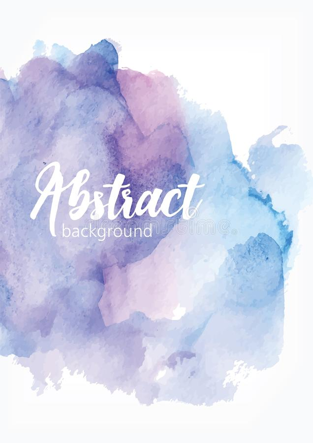 Abstract hand painted watercolor background. Artistic paint blot, blotch, stain or smear of blue and purple pastel stock illustration
