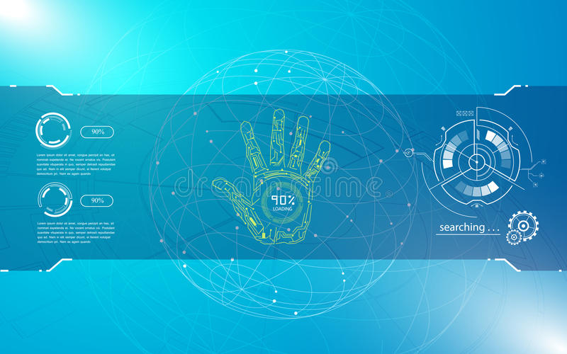 Abstract hand scan identify hi tech sci fi design concept background stock illustration