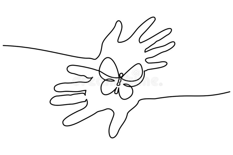 Abstract hands hold butterfly Continuous one line vector illustration