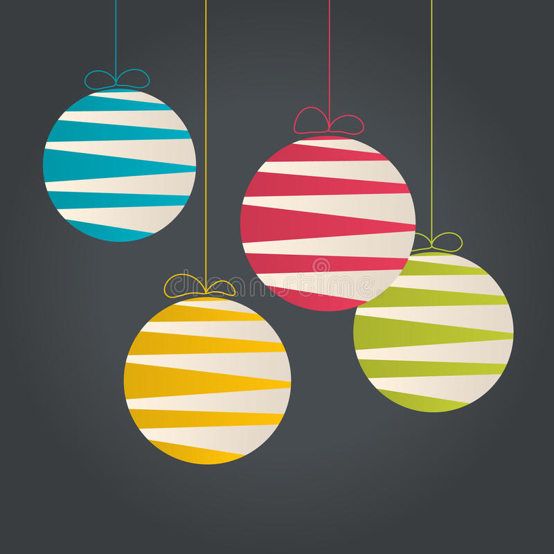 Abstract hanging Christmas baubles. Made from lines stock illustration