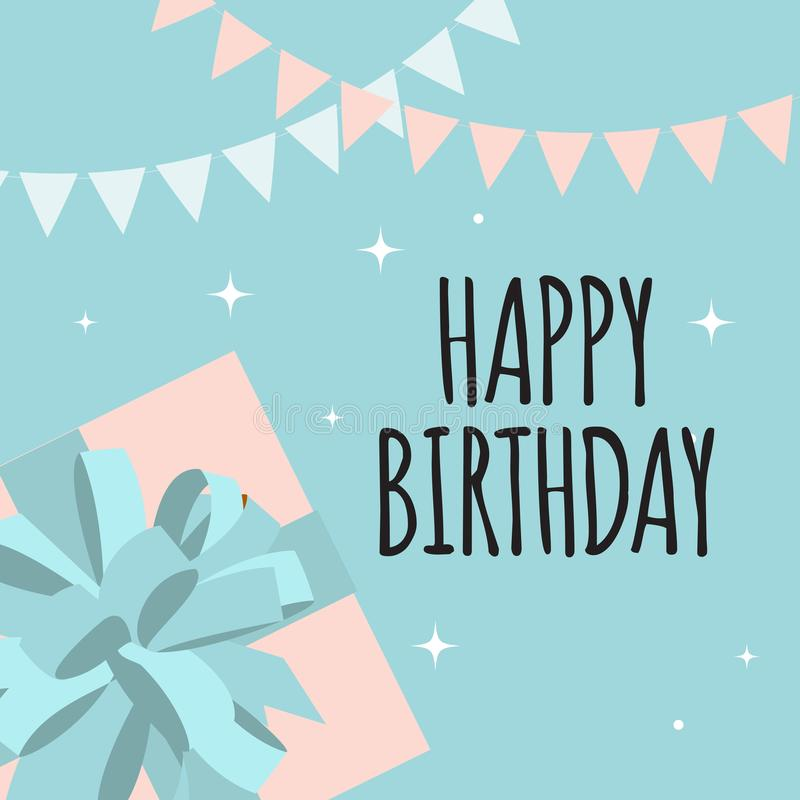 Abstract Happy Birthday Background Card Template with Gift Box Vector Illustration royalty free illustration