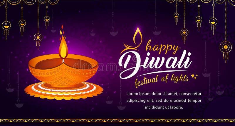 Abstract Happy Diwali Illustration med traditionell diya vektor illustrationer