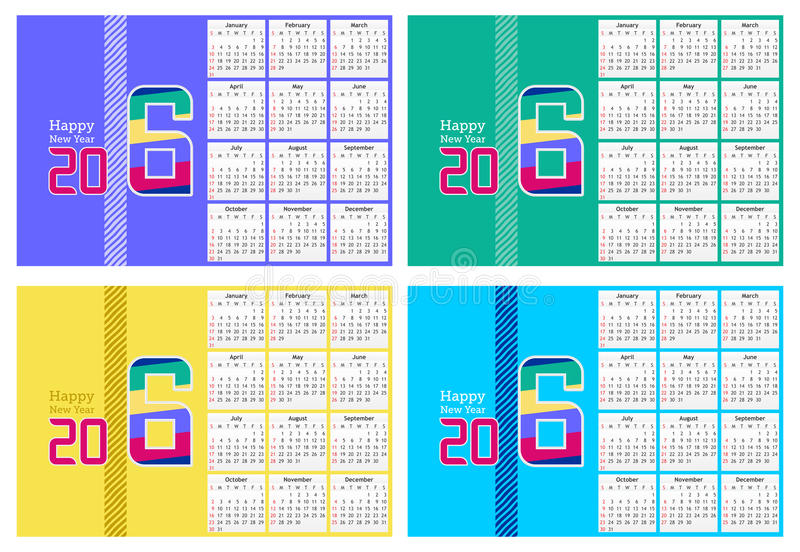 Abstract Happy new year 2016 Calendar Design in four different colors stock image