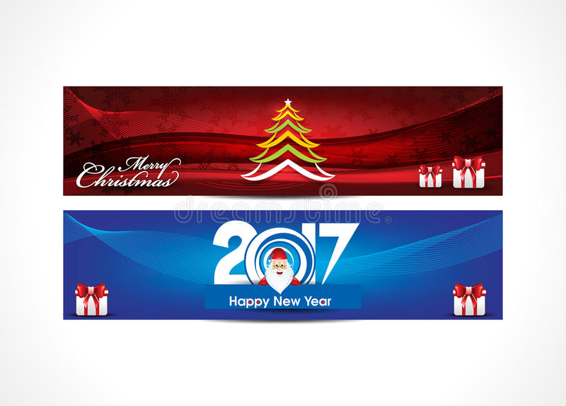 Abstract happy new year and merry christmas web banner backgrou royalty free illustration