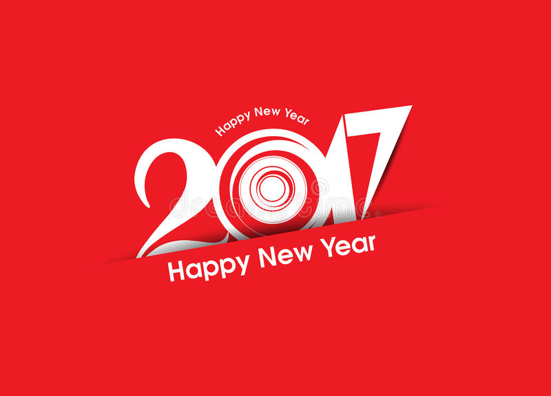 Abstract happy new year 2017 text background stock illustration