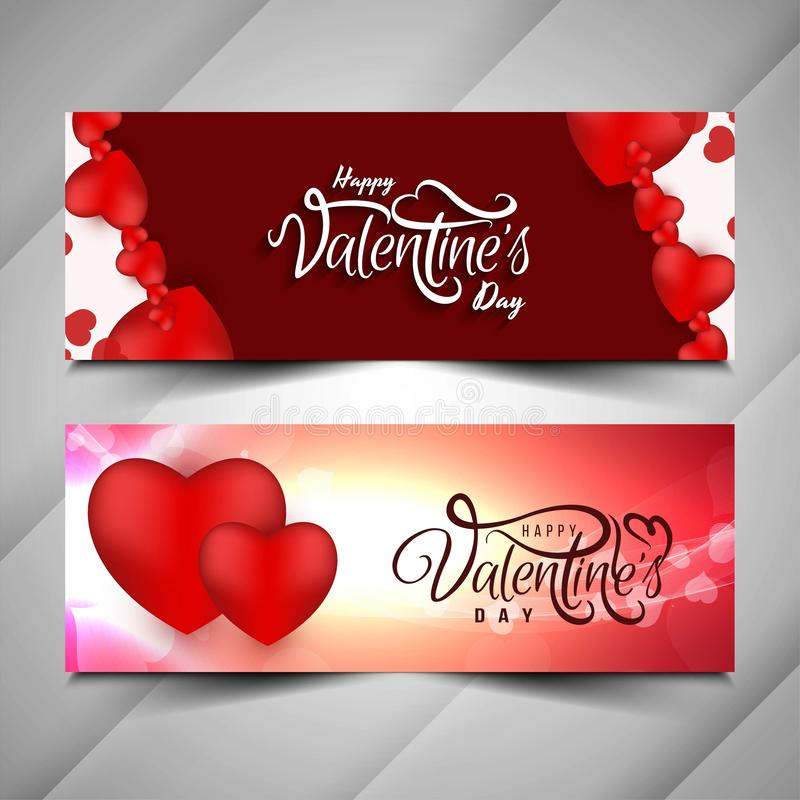 Abstract Happy Valentine`s day banner set. Vector stock illustration