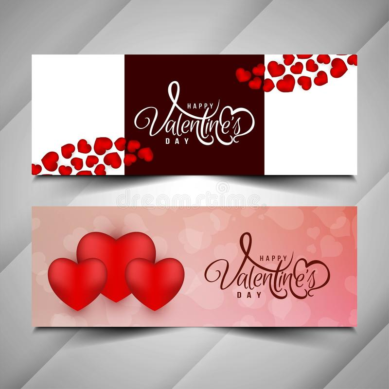 Abstract Happy Valentine`s day banner set. Vector royalty free illustration