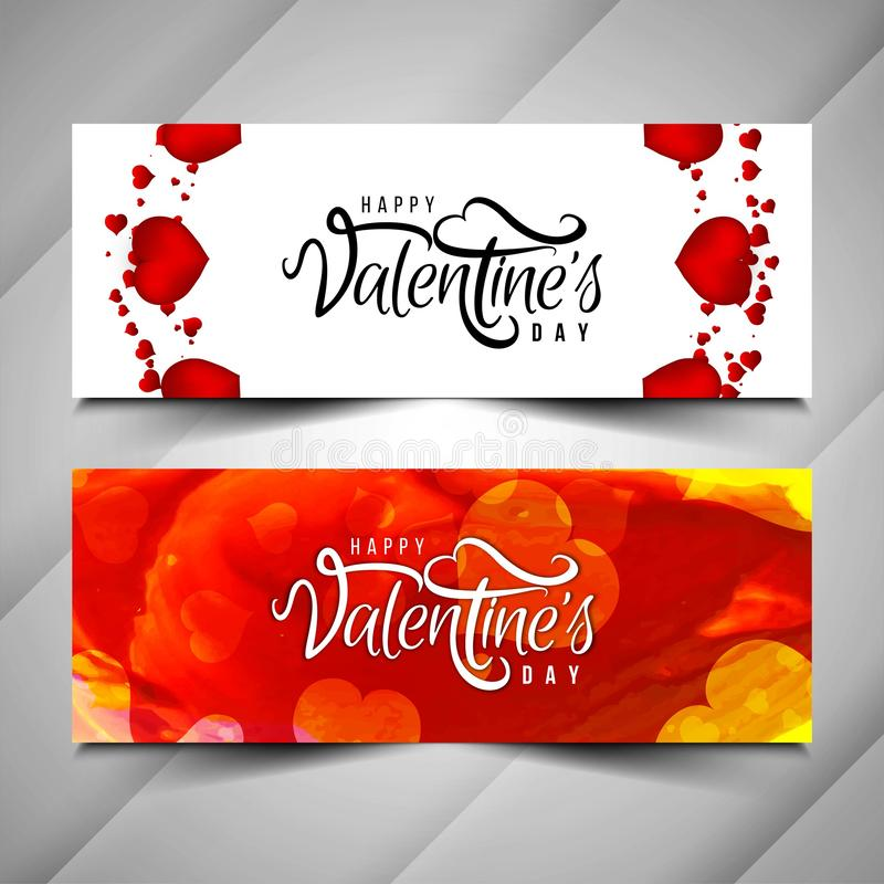 Abstract Happy Valentine`s day banner set. Vector vector illustration