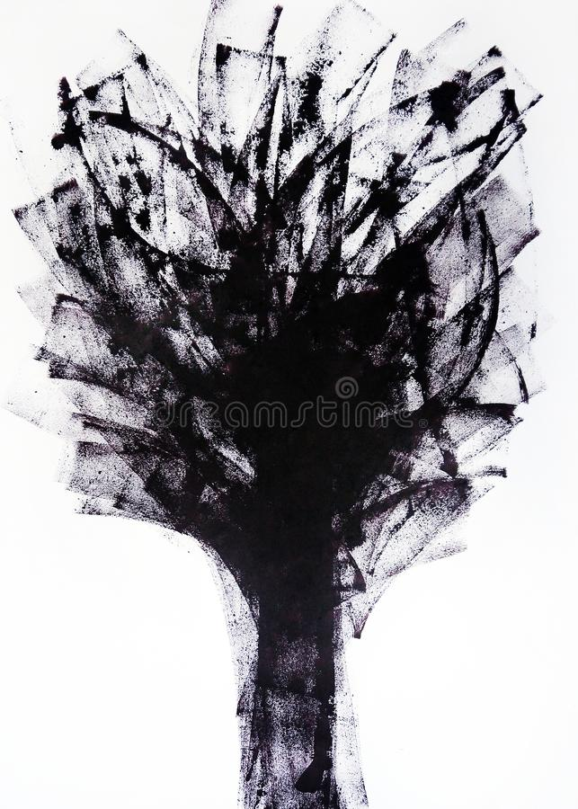 Abstract harmony of movement of tree branches in the wind. Abstract graphics for decoration for wallpapers, poster, cover booklet, useful abstract graphics for royalty free illustration