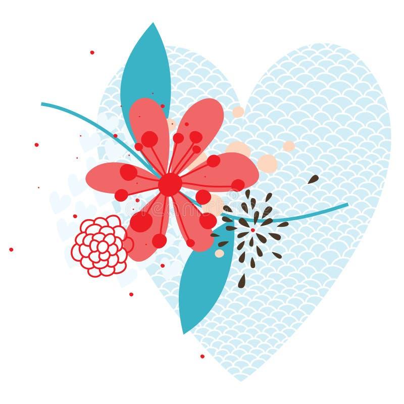 Abstract hart met bloem stock illustratie