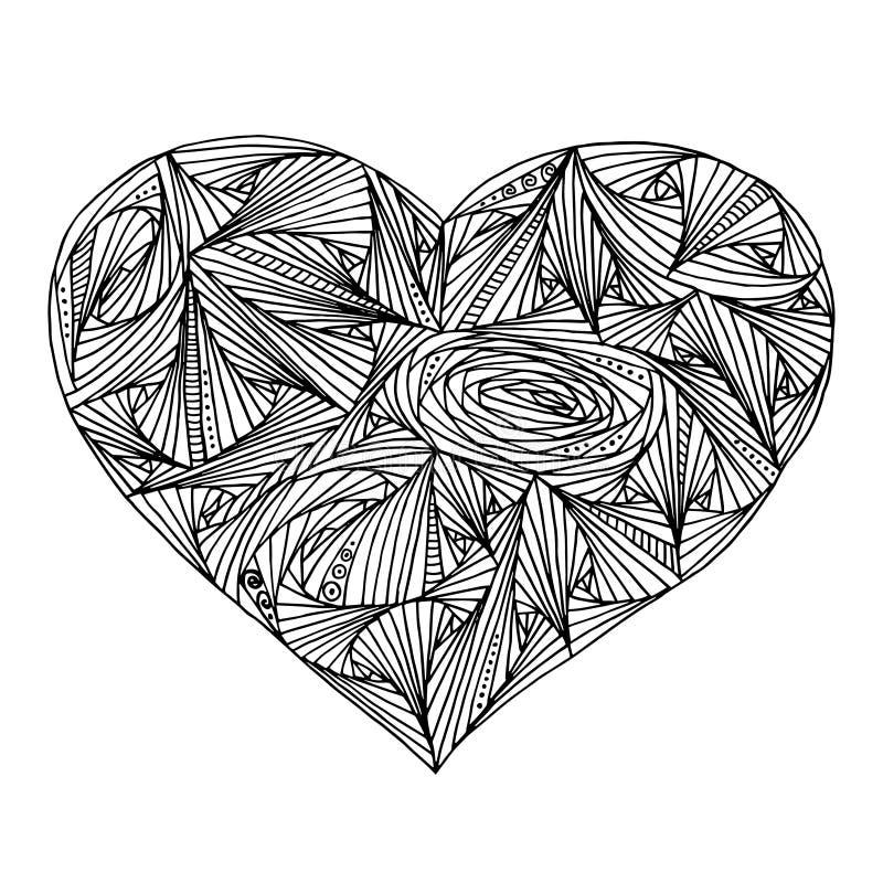 Abstract hart met geometrisch patroon voor het kleuren van boek royalty-vrije illustratie
