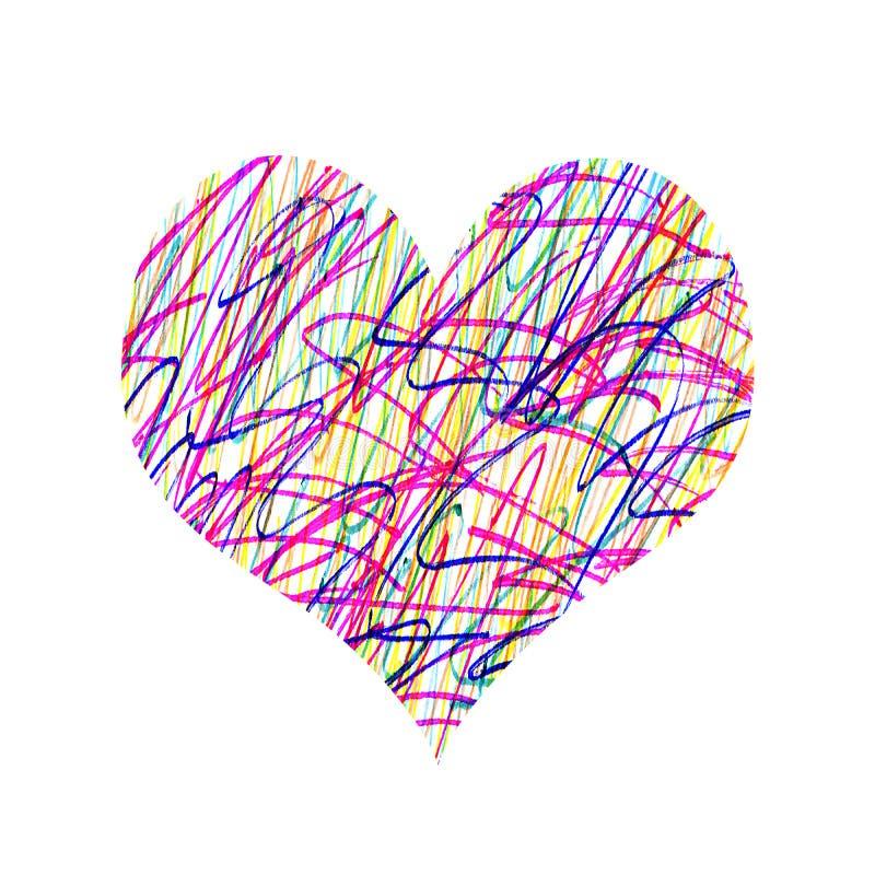 Abstract hart met helder kleurrijk slordig patroon stock illustratie