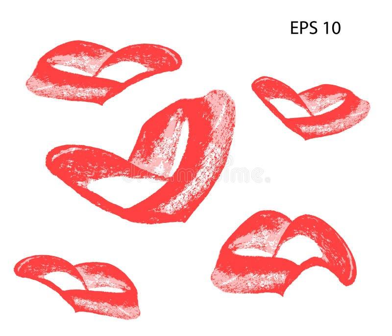 Abstract hartontwerp Het element van Grungezegels liefdevormen voor uw decoratie Geweven de Dagtekens van Valentine ` s Vector il royalty-vrije illustratie
