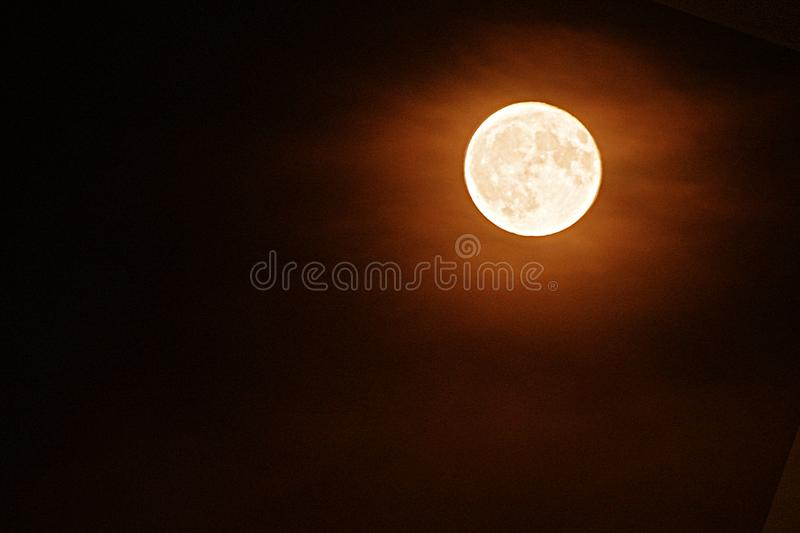 Abstract Harvest full moon cloudy night royalty free stock photos