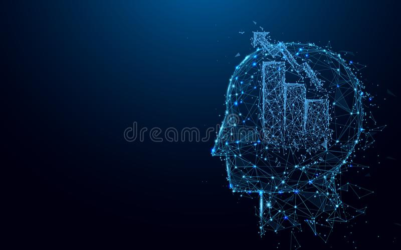 Abstract Head with Graph and Chart bar symbol form lines and triangles, point connecting network on blue background. Illustration vector stock illustration
