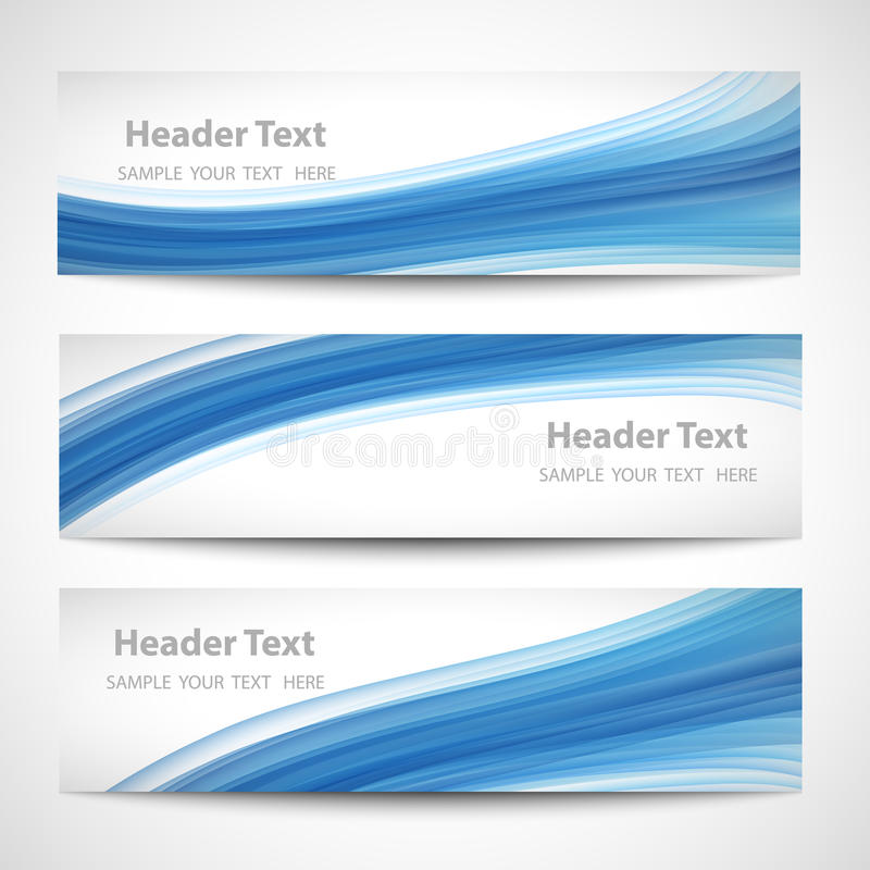 Abstract header blue wave white vector design stock images