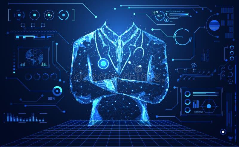 abstract health medical science consist doctor digital futuristic virtual hologram treatment,medicine and communication system li stock illustration