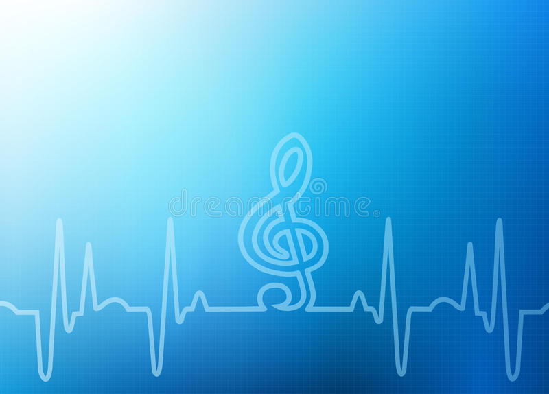 Abstract Healthcare Background Graphic. Abstract Healthcare, Medical or the Arts - sound of music from a heart beat with clef -soft focus blue graph background stock illustration