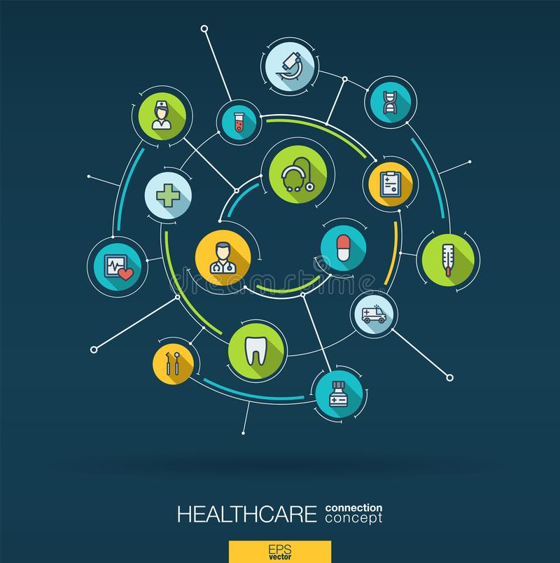 Abstract healthcare and medicine background. Digital connect system with integrated circles, flat thin line icons vector illustration