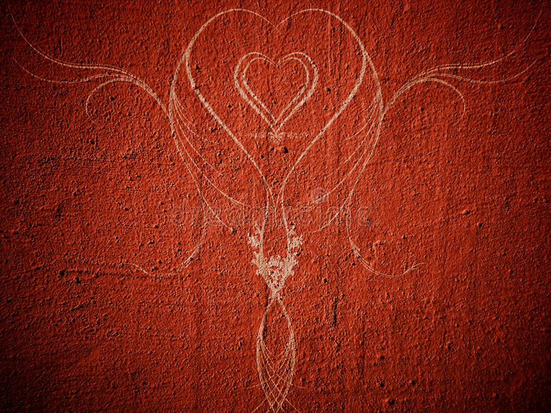 Abstract heart. Nice abstract heart on red grunge wall stock image