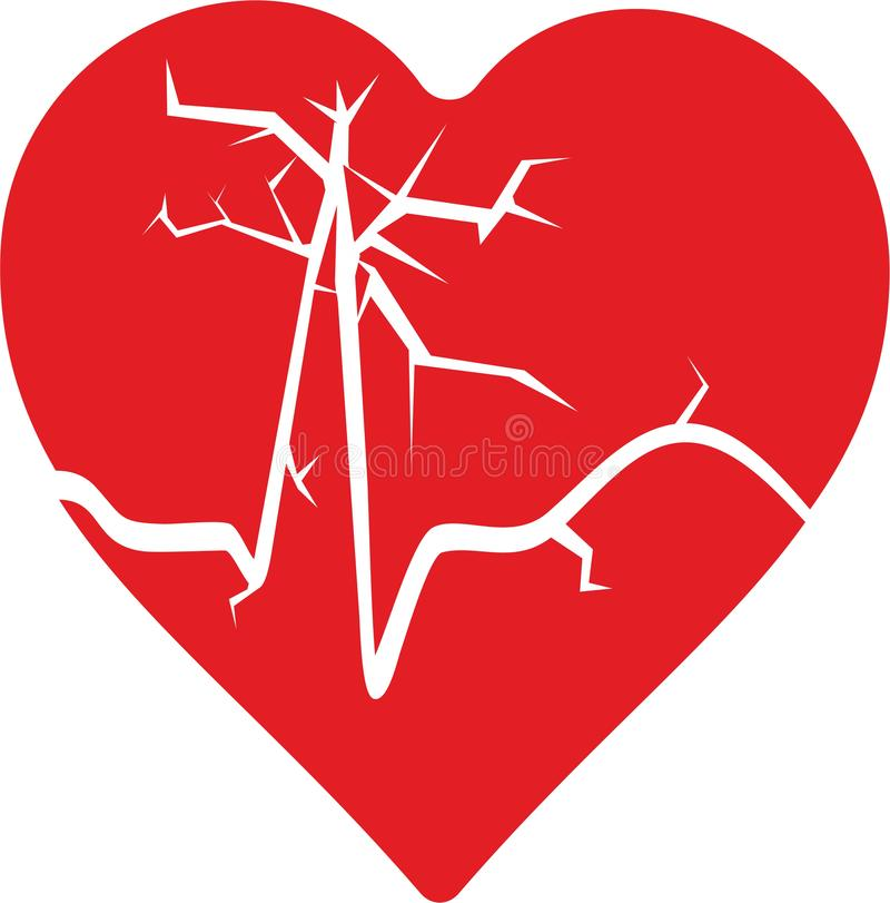 Abstract heart with beat. From a ECG royalty free illustration