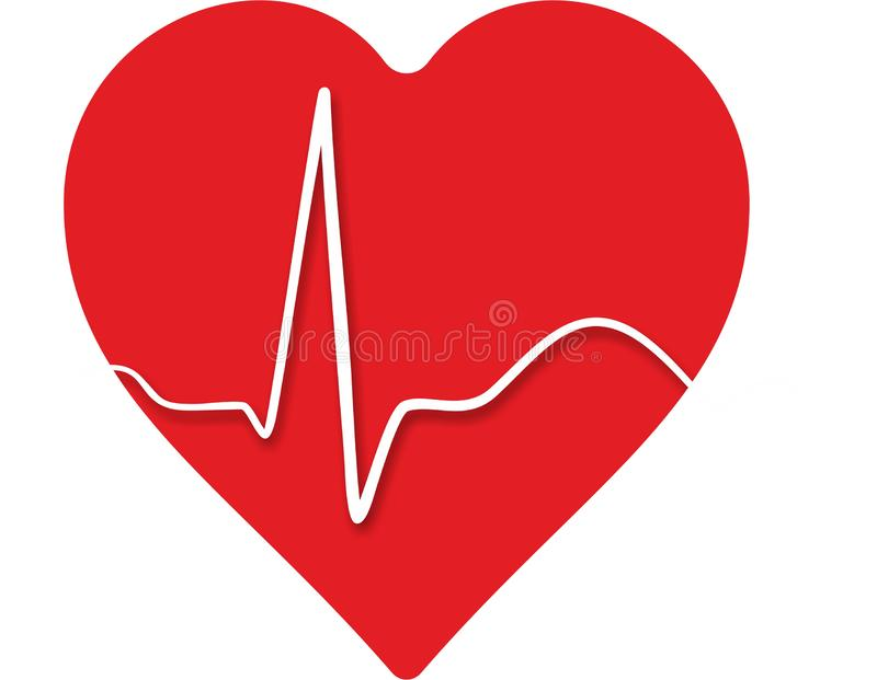 Abstract heart with beat. From a ECG stock illustration