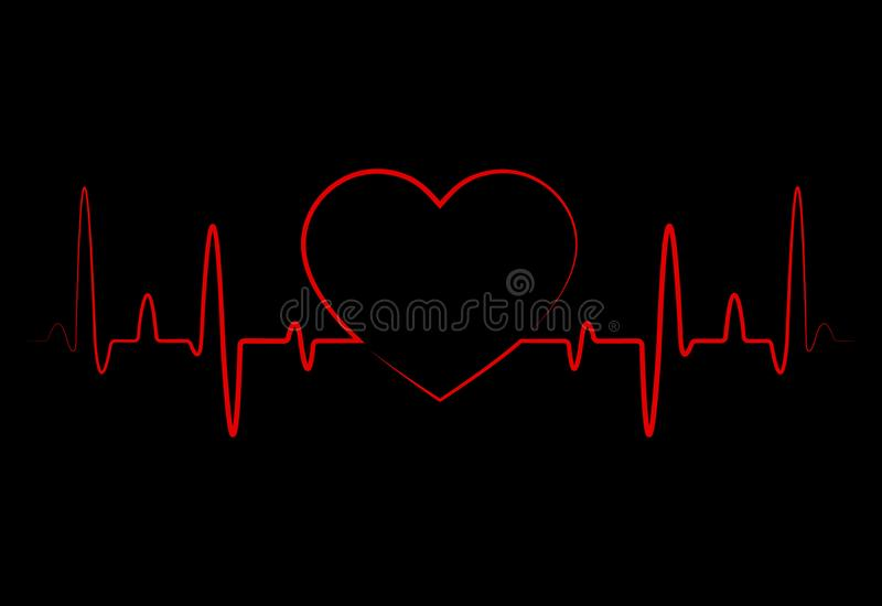 Abstract heart beats, cardiogram. Cardiology black background with red heart.Pulse of life line forming heart shape.Medical vector stock illustration