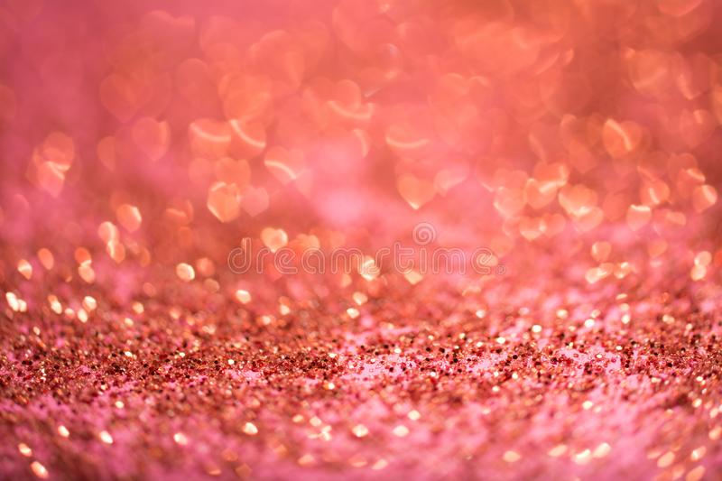 Abstract heart bokeh defocused red lights. Abstract heart bokeh defocused glitter red and gold lights royalty free stock images