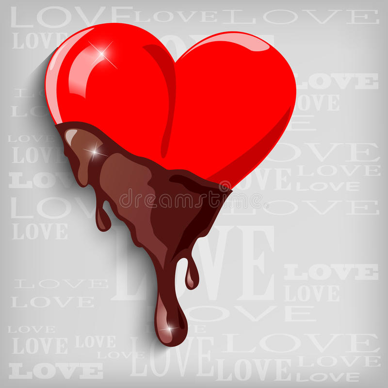 Abstract heart with chocolate stock illustration