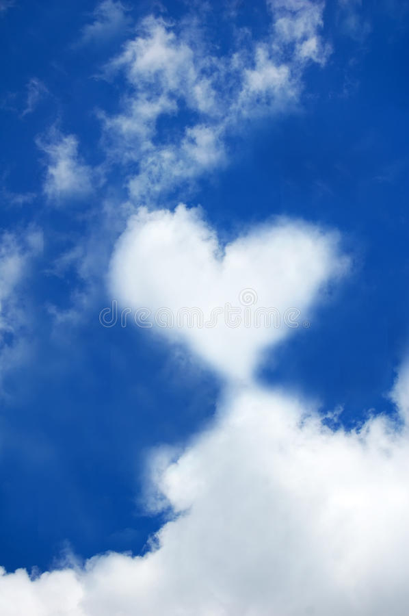 Abstract heart cloud in sky. Background photo royalty free stock images