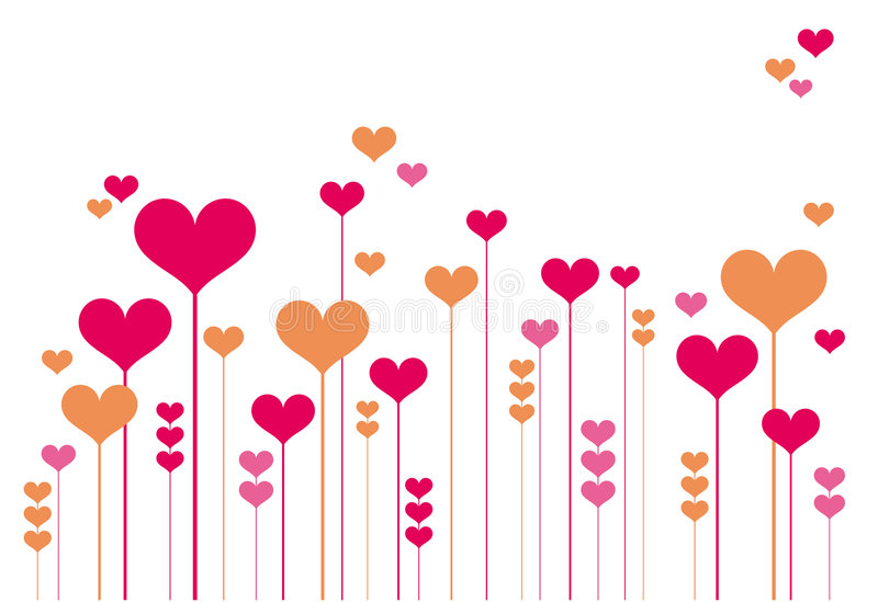 Abstract heart flowers vector illustration