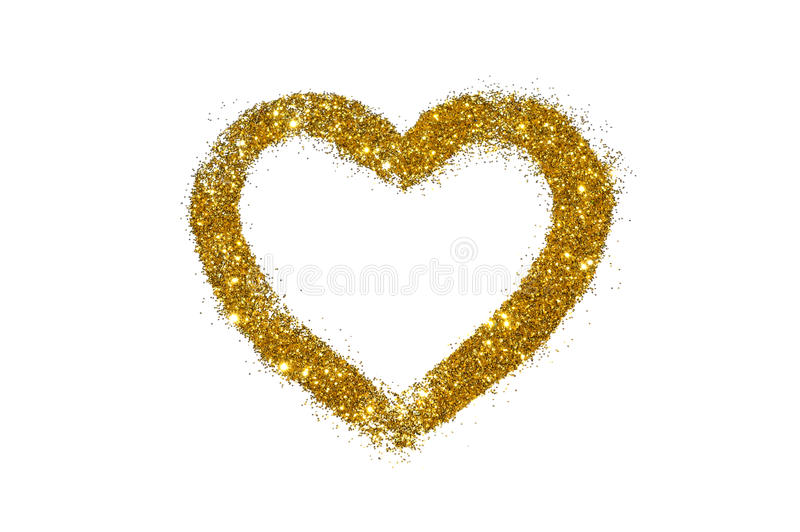 Abstract heart of golden glitter sparkle on white. Background stock image
