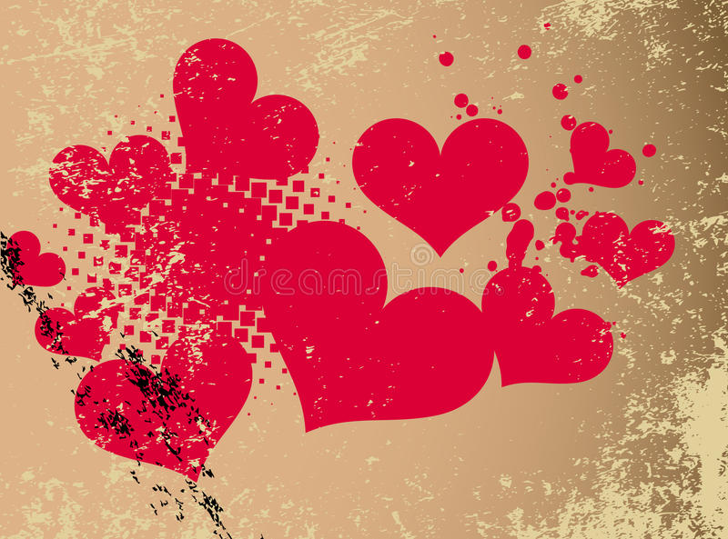 Abstract heart with grunge design. vector illustration