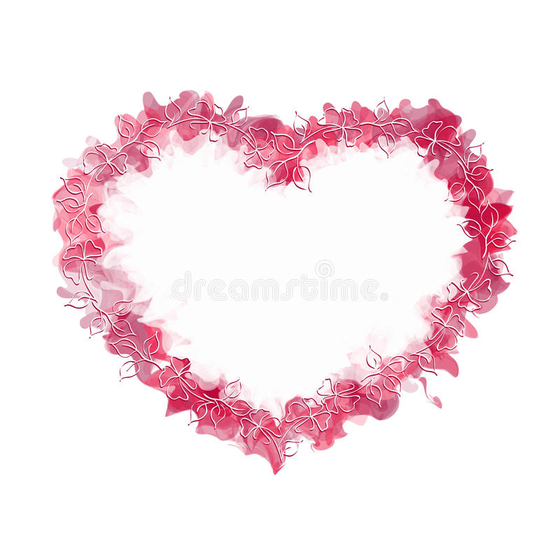 Abstract heart with hand drawing frame vector illustration