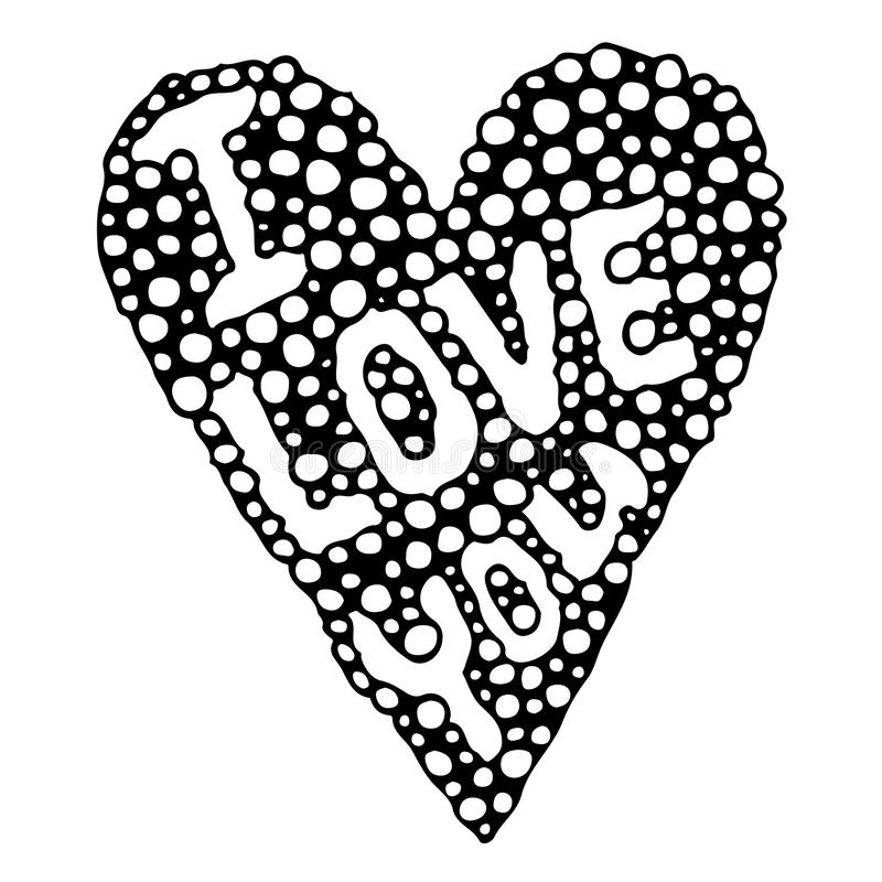 Abstract heart with I love you text royalty free illustration