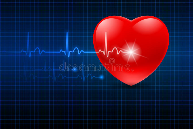 Abstract Heart Monitor. On a Dark Blue Background royalty free illustration