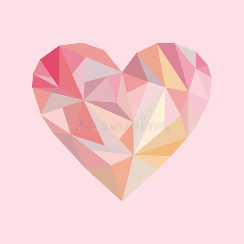 Abstract heart at pink background in stock photo