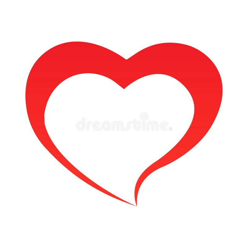 Abstract heart shape outline. Vector illustration. Red heart icon in flat style. The heart as a symbol of love. stock illustration