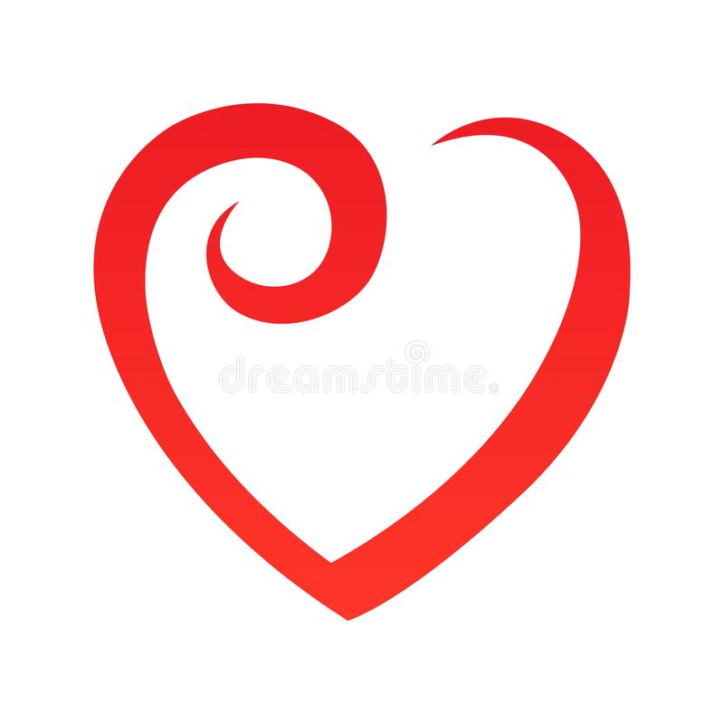 Abstract heart shape outline. Vector illustration. Red heart icon in flat style. The heart as a symbol of love. The design all about love vector illustration