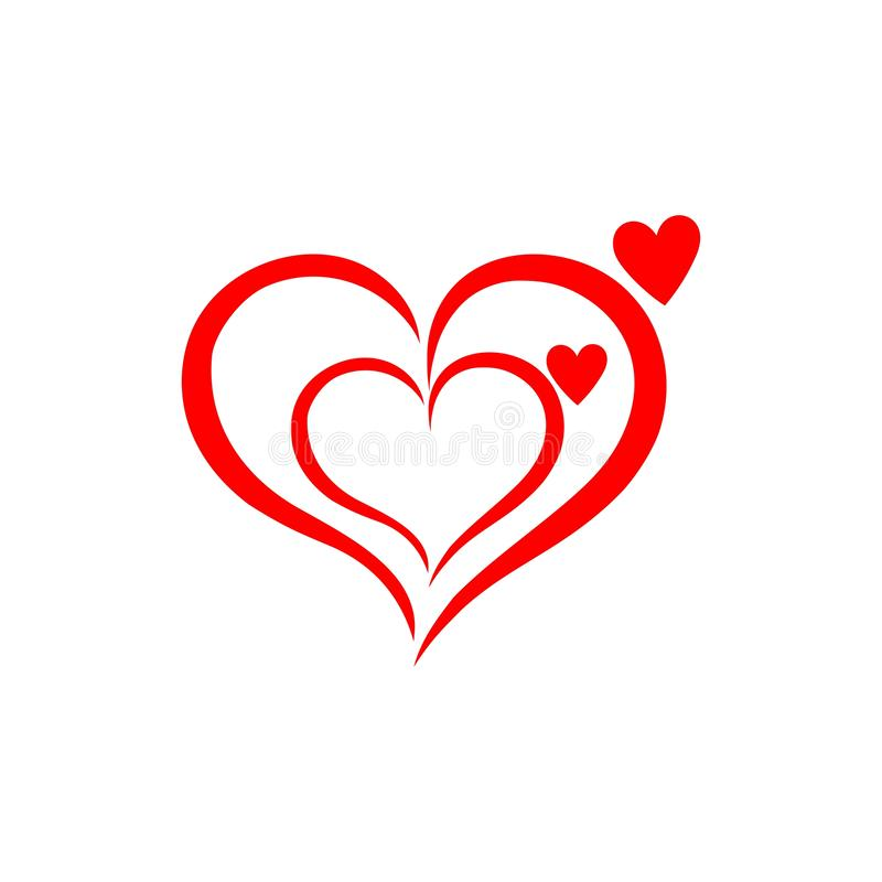 Free Abstract Heart Shape Outline. Vector Illustration. Red Heart Icon In Flat Style. The Heart As A Symbol Of Love. Amazing, Draw. Stock Images - 156756734
