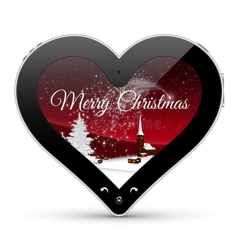 Abstract Heart Shaped Tablet Pc with Christmas Greeting royalty free stock photos