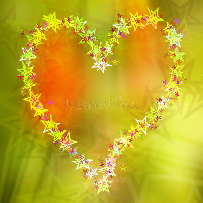 Abstract heart stars postcard, colorful background royalty free illustration