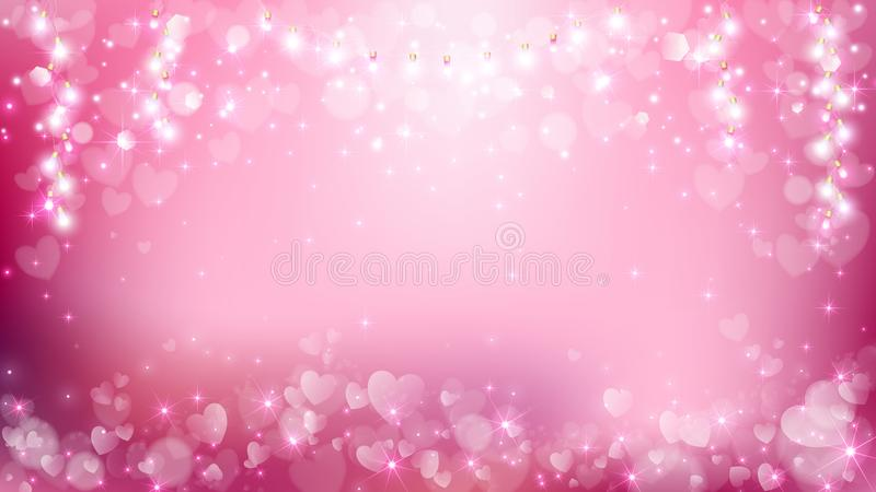 Abstract heart valentines with pastel background vector illustration