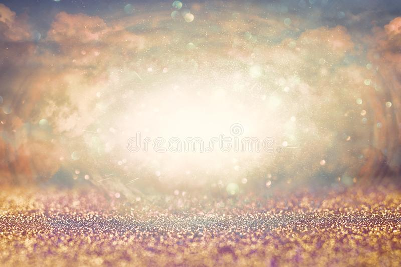 Abstract heavenly background with glittern. Revelation concept royalty free stock image