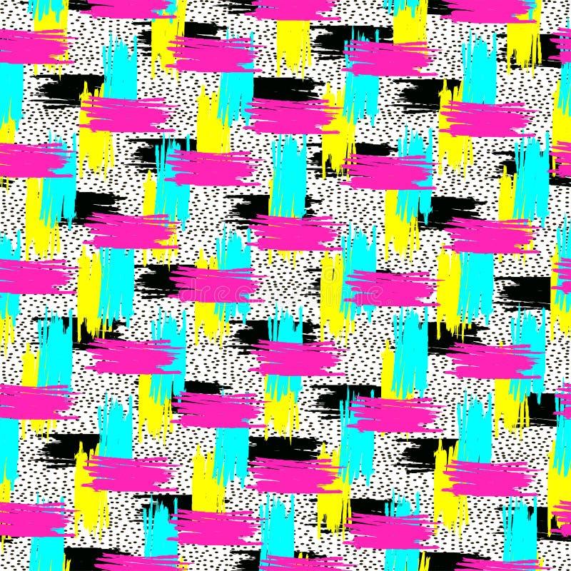 Abstract helder naadloos patroon Kleurrijke borstelslagen vector illustratie
