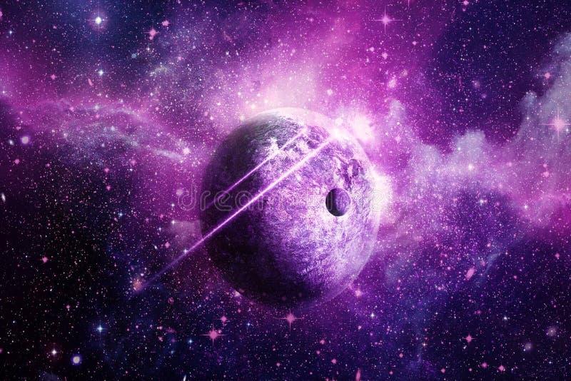 Abstract Helder Roze Planeet en Nevelmelkwegkunstwerk vector illustratie