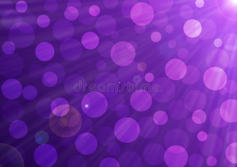Abstract helder zonneschijn, bubbels en Bokeh in de achtergrond van paarse gradiënt royalty-vrije illustratie